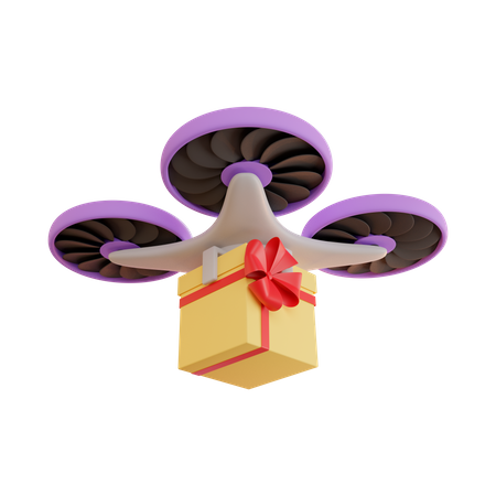 Delivery by drone of gift in yellow box 3D Illustration