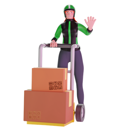 Delivery girl and Holding Trolley Loaded With Cardboard Boxes 3D Illustration