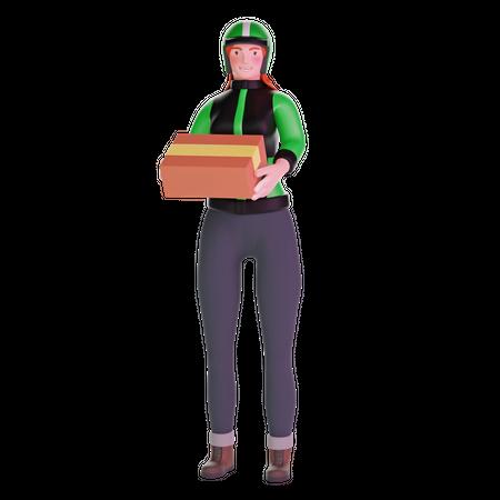 Delivery girl bringing a big package 3D Illustration