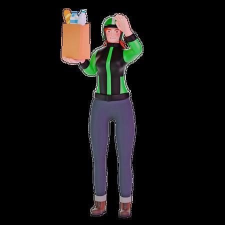 Delivery Girl Bringing groceries 3D Illustration