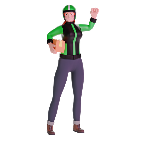 Delivery girl exited in uniform jacket and holding cardboard package 3D Illustration