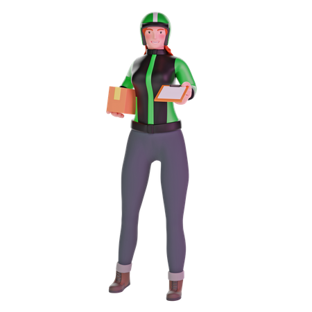 Delivery girl giving clipboard and holding package 3D Illustration