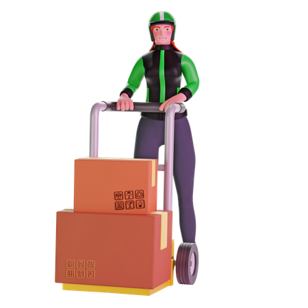 Delivery girl Holding Trolley Loaded With Cardboard Boxes 3D Illustration