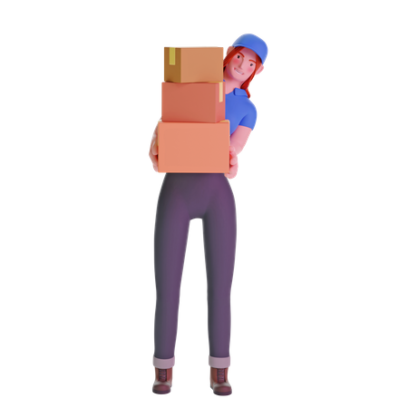 Delivery girl in uniform carrying boxes 3D Illustration