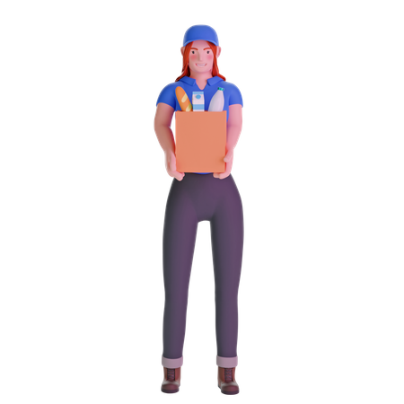 Delivery girl in uniform holding groceries 3D Illustration