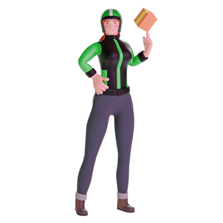 Delivery girl in uniform jacket playing with cardboard box package 3D Illustration