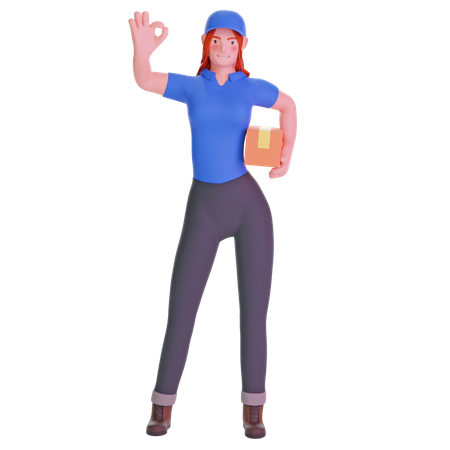 Delivery girl in uniform with ok hand gesture 3D Illustration