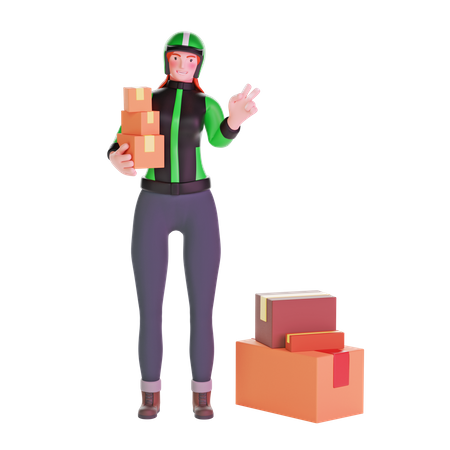Delivery girl in uniform with peace hand sign and carrying boxes 3D Illustration