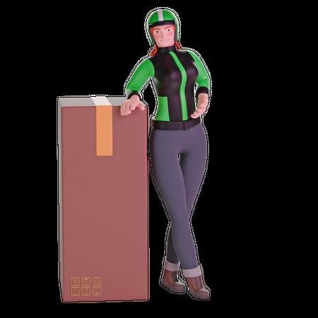 Delivery girl leaning on big cardboard package 3D Illustration