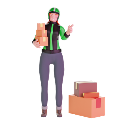 Delivery girl pointing gesture 3D Illustration