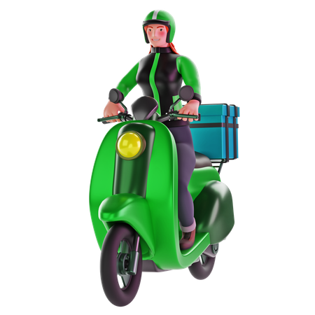 Delivery girl ride motorcycle 3D Illustration