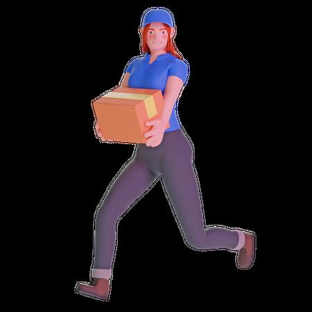 Delivery girl running fast holding cardboard package 3D Illustration