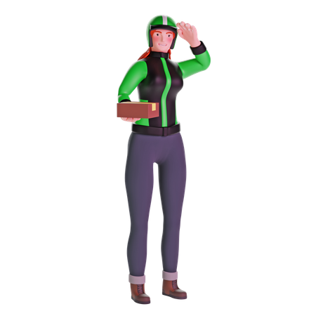 Delivery girl saluting when giving package 3D Illustration
