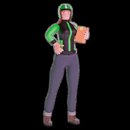 Delivery girl standing 3D Illustration