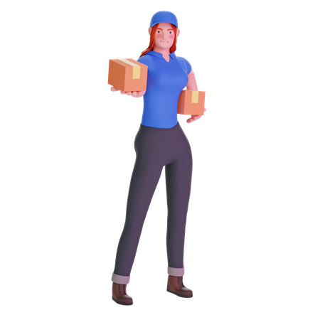 Delivery girl standing With Parcel 3D Illustration