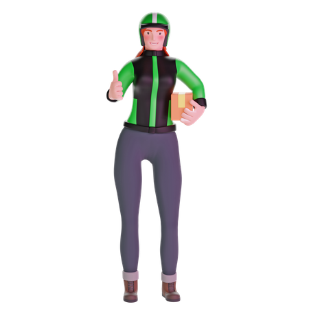 Delivery girl thumb up hand gesture 3D Illustration