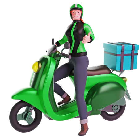 Delivery girl thumbs up hand gesture while riding motorcycle 3D Illustration