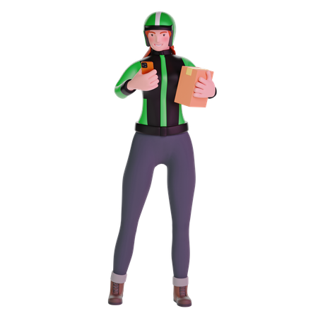 Delivery girl using phone and holding cardboard package 3D Illustration