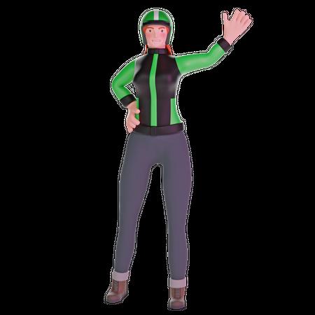 Delivery girl waving 3D Illustration