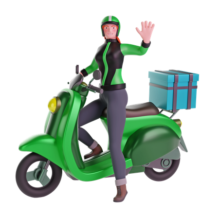 Delivery girl waving while riding motorcycle 3D Illustration