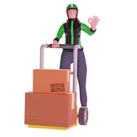 Delivery girl with ok hand sign gesture and Holding Trolley Loaded With Cardboard Boxes 3D Illustration