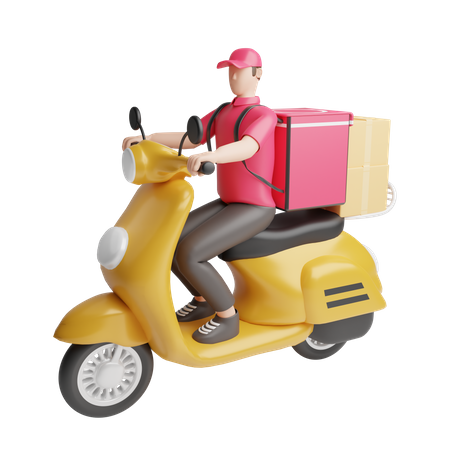 Delivery guy on scooter 3D Illustration