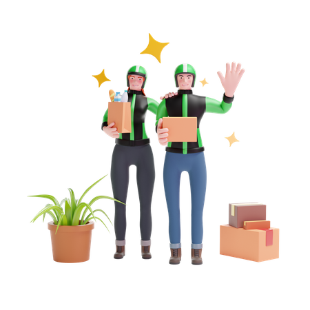 Delivery man and Delivery girl standing 3D Illustration