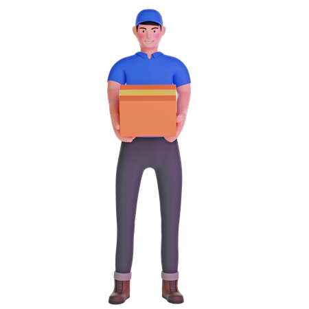 Delivery man carrying big package 3D Illustration