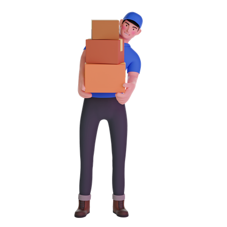 Delivery man carrying boxes 3D Illustration