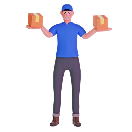 Delivery Man Carrying Package 3D Illustration