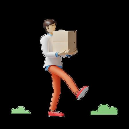 Delivery man delivering parcel 3D Illustration