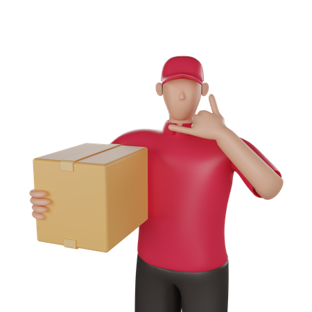 Delivery man doing delivery call 3D Illustration