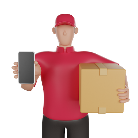 Delivery man doing online delivery 3D Illustration