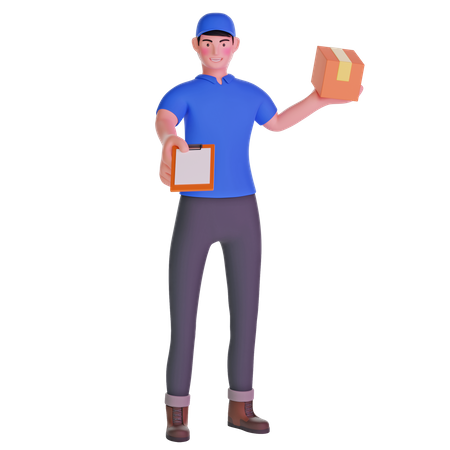 Delivery man giving bringing a package and holding out a clipboard 3D Illustration
