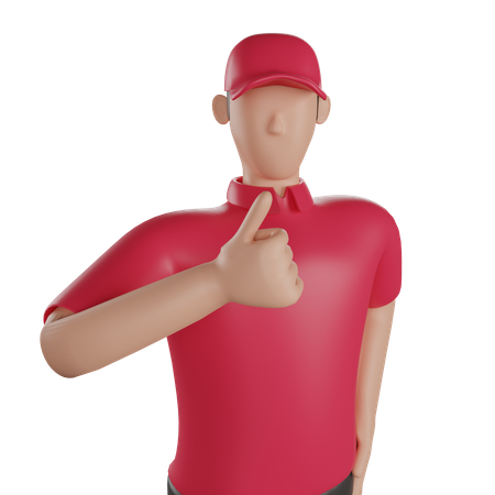 Delivery man giving good review 3D Illustration