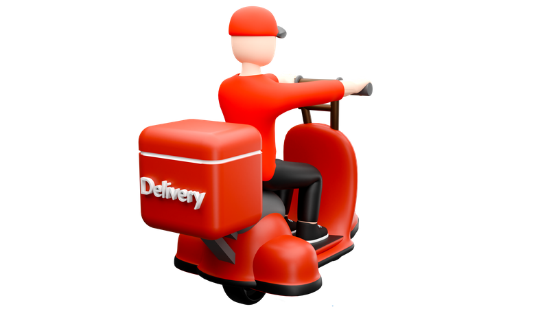 Delivery man going on scooter for food delivery 3D Illustration