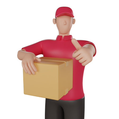 Delivery man holding a customer's goods 3D Illustration