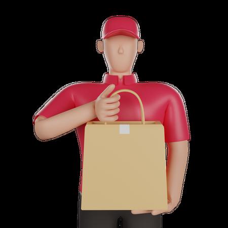 Delivery man holding a delivery bag 3D Illustration