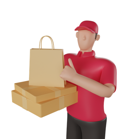 Delivery man holding a delivery boxes 3D Illustration