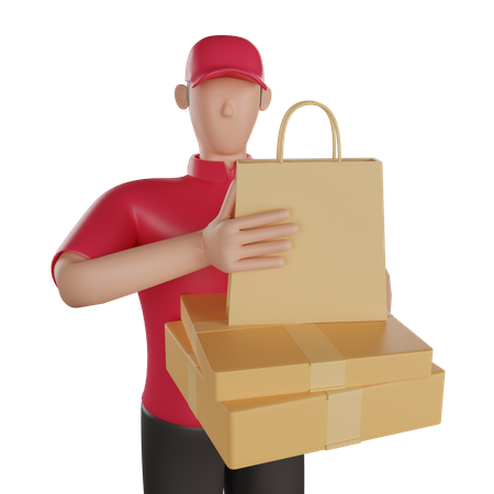 Delivery man holding a delivery goods 3D Illustration