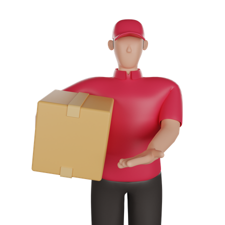 Delivery man holding a package 3D Illustration