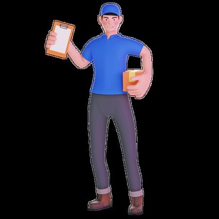 Delivery man holding clipboard 3D Illustration