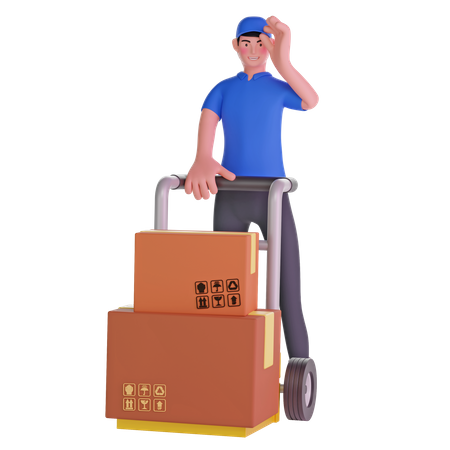 Delivery man holding courier hand on cap and trolley 3D Illustration