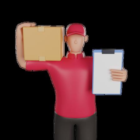 Delivery man holding delivery list and parcel 3D Illustration