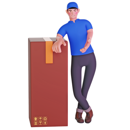Delivery man leaning on package cardboard boxes 3D Illustration