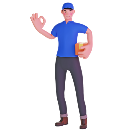 Delivery Man Making OK Sign and holding package 3D Illustration