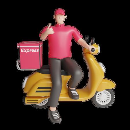 Delivery man on bike 3D Illustration