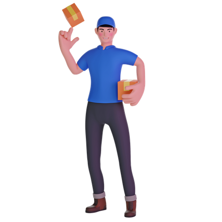 Delivery man playing with package 3D Illustration