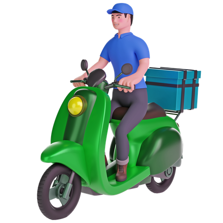 Delivery man riding a motorcycle with delivery box 3D Illustration