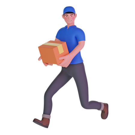 Delivery man running fast holding cardboard package 3D Illustration